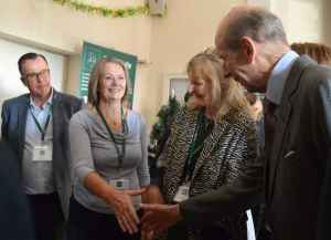 HRH The Duke of Kent is introduced to Mrs Carole Briggs of Norton Lindsey Village Hall