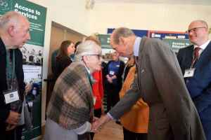 HRH The Duke of Kent meets Mrs Jean Kimbrell of Fillongley Bowls Club
