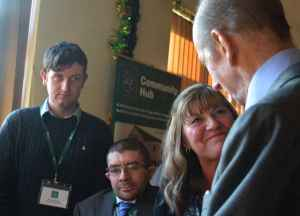 HRH The Duke of Kent with Mrs Jayne Moore of Fillongley Village Hall and Young Farmers Mr Stephen Kelsey and Mr Lucas Bettridge