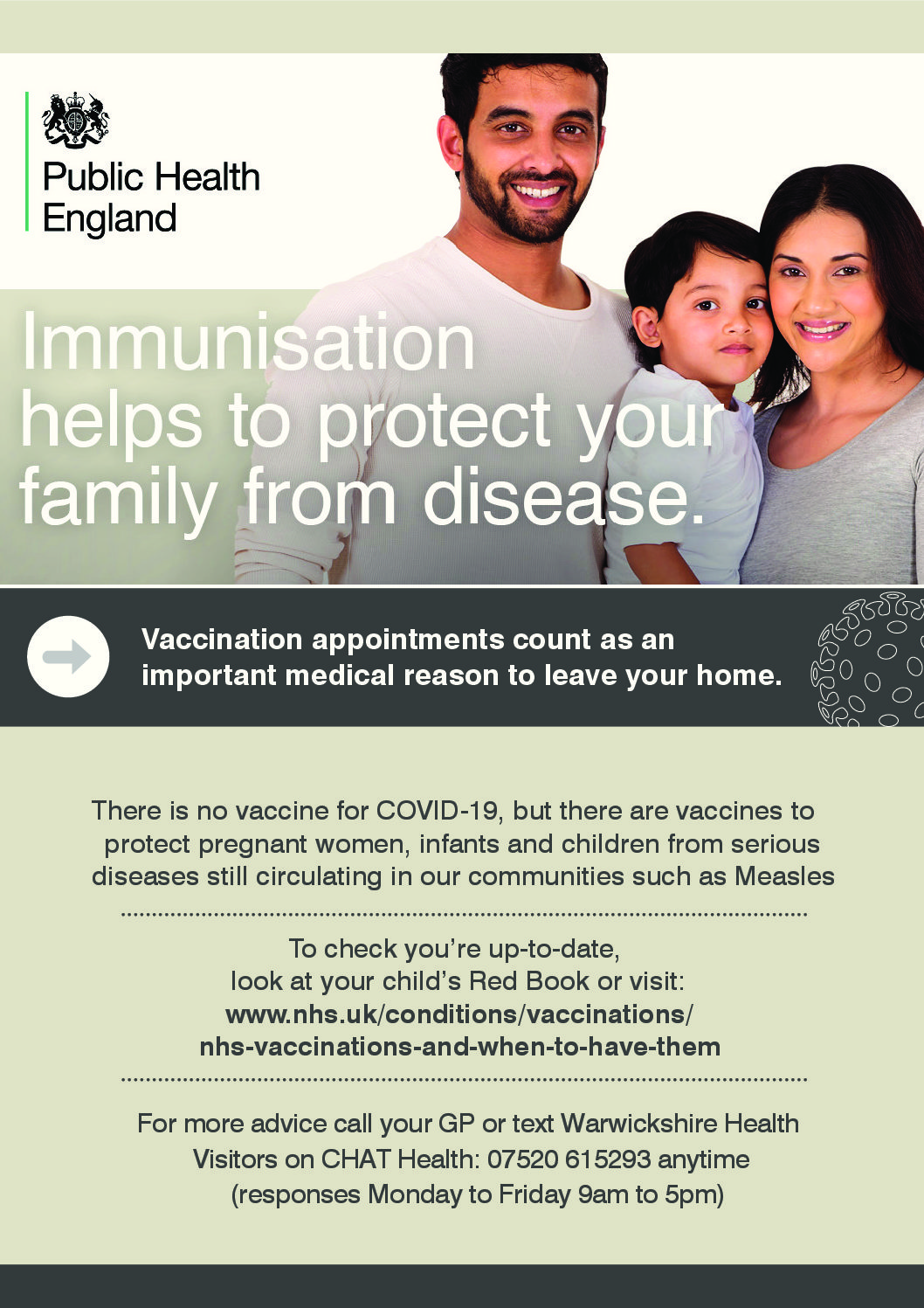 Warwickshire's 'Carry on Vaccinating during Covid-19' campaign